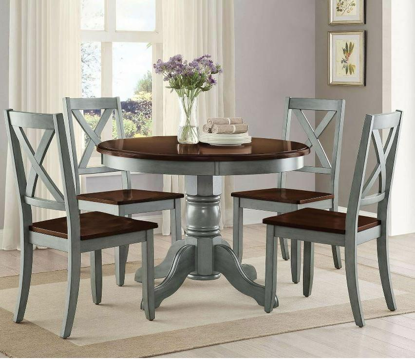 Farmhouse Dining Table Set Rustic Round Dining Room