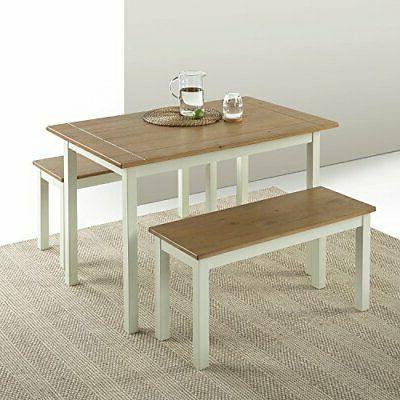 Zinus Becky Farmhouse Dining Table with Two Benches / 3 piec