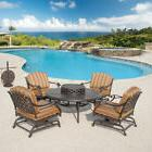Fire Pit Table Set 6 Piece Dining Outdoor All Inclusive Pool