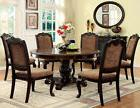 FORMAL BRADFORD 7PC BROWN CHERRY ROUND DINING TABLE SET w/ F