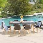 Gila Outdoor 7-Piece Rectangle Wicker Dining Set by Christop