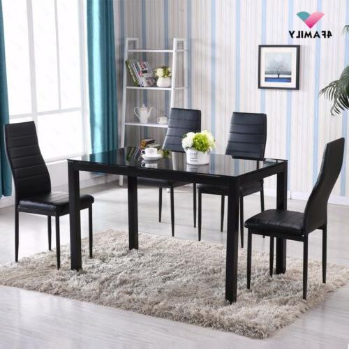 5 Table Set 4 Chairs Metal Black