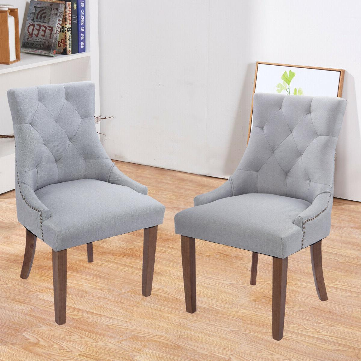 set of 2 tufted dining chairs accent