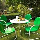 Green White OUTDOOR METAL RETRO 5 PIECE DINING TABLE CHAIRS