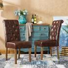 Roundhill Furniture Habit Faux Leather Tufted Parsons Dining