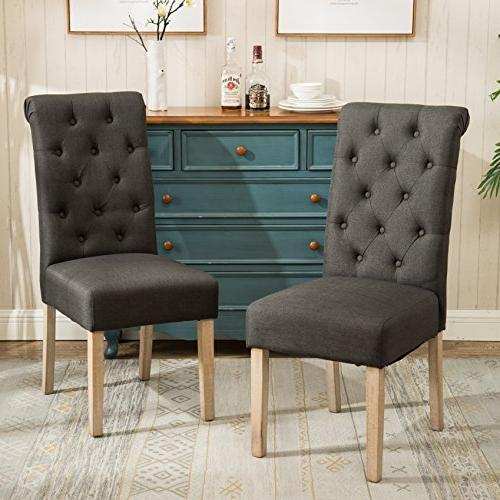 Habit Solid Wood Tufted Parsons Charcoal Dining Chair, Set o