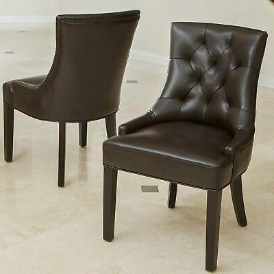 hayden tufted brown leather dining chair set