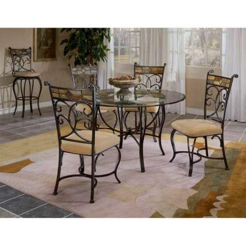 Hillsdale Pompeii 5 Pc Dining Set w/Chairs Black Gold/Slate