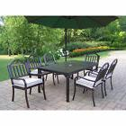 Hometown 8-Piece Outdoor Dining Set with 10 ft Green Umbrell