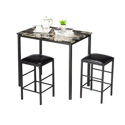 3 Piece Counter Height Dining Set Faux Marble Table 2 Chairs
