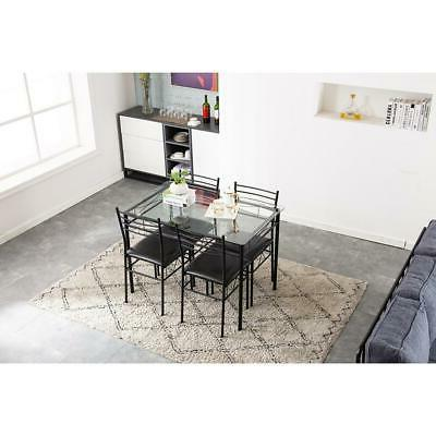 Hot Kitchen 5 Metal 4 Chairs Glass Room Furniture