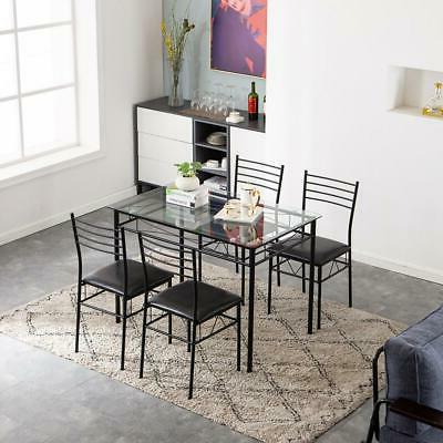 Hot Kitchen Metal Dining Table Set 4 Chairs Glass Room Furniture