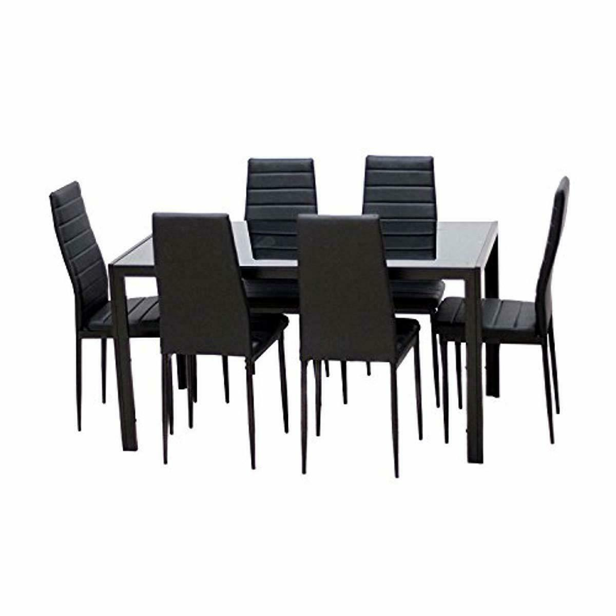 IDS Pieces Modern Glass Dining Table Set Faxu With 6 Bla