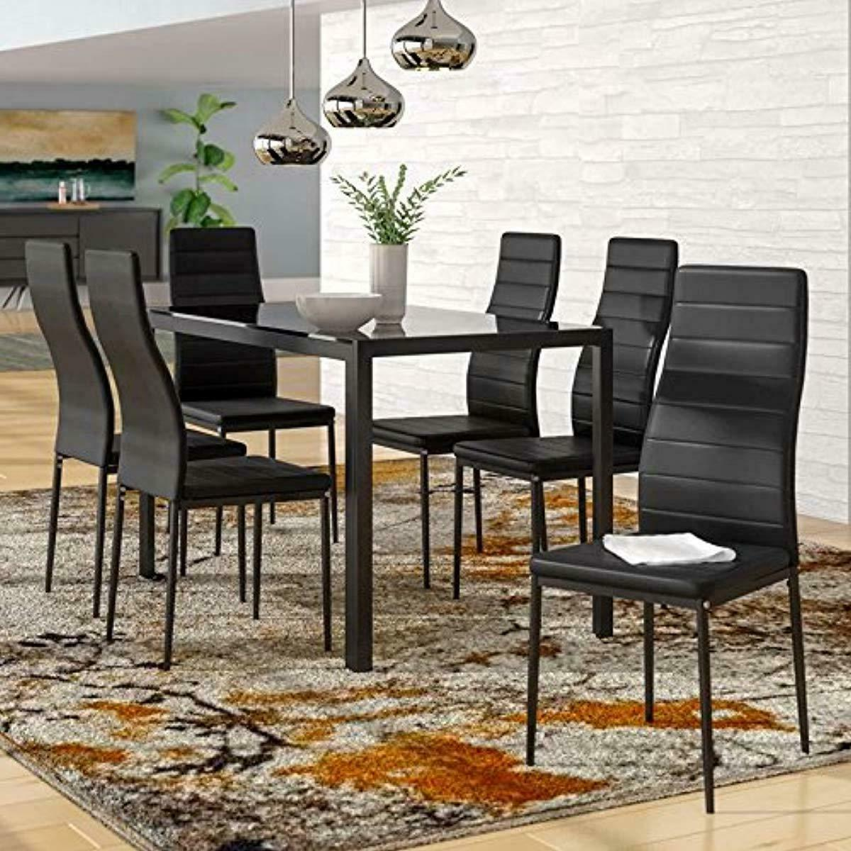 ids online 7 pieces modern glass dining
