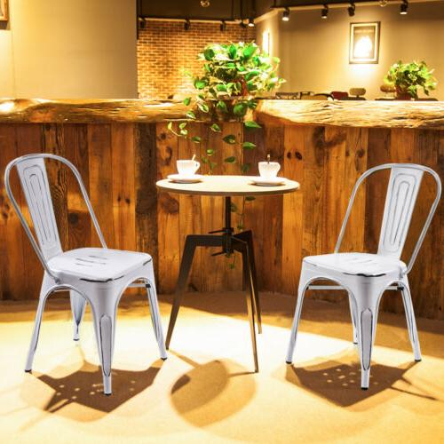 iron metal dining chair stackable side chairs
