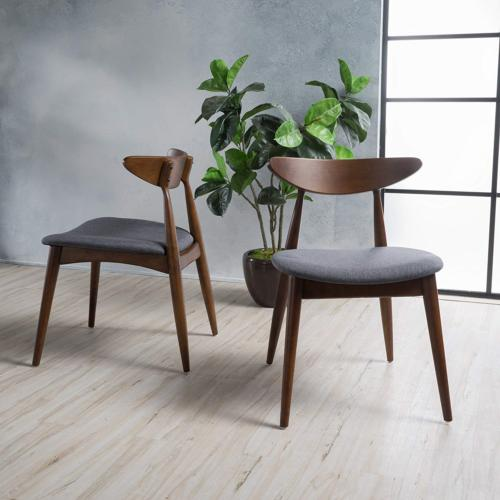 issaic charcoal fabric with walnut finish dining