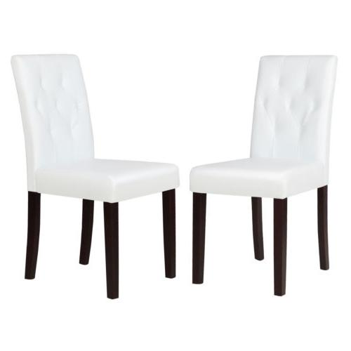 Set of 2 Dining Chair White Leather Kitchen Dinette with Tuf