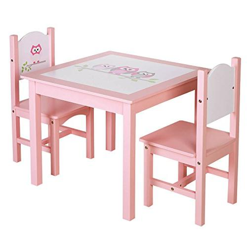 Songmics Kids Wood Table And 2 Chairs Set