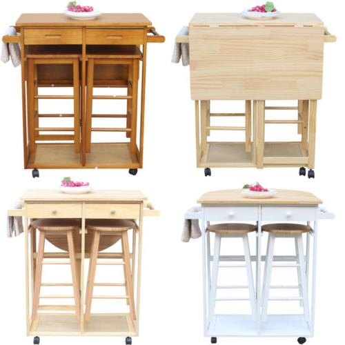 kitchen dining table set portable rolling breakfast