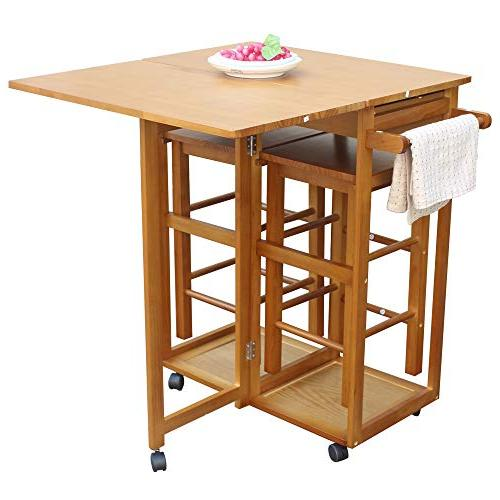 FCH Kitchen Cart Stools 2 Drawers Solid Drop Table