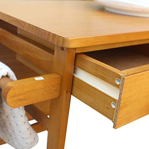 FCH Cart with 2 Stools 2 Drawers Solid Table Easy Put