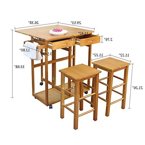 FCH Island Trolley Cart 2 Square Stools and Solid Wood Drop Table Together