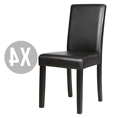 Mecor Kitchen Leather Chairs with Legs Design Backrest,Set