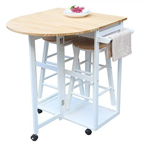 SSLine Kitchen with Stools, Breakfast Chair, Space Saving Foldable Kitchen Table On Wheels with 2 White