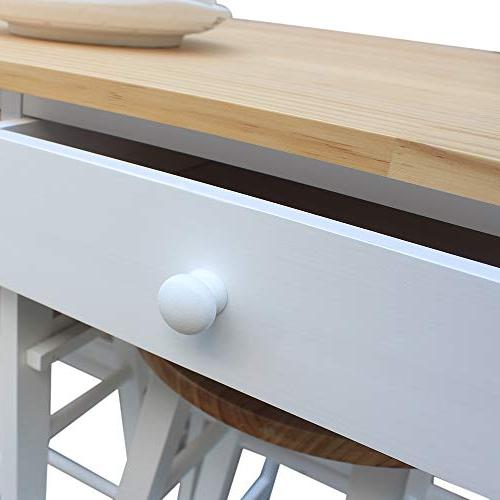 SSLine Rolling Kitchen with Table 2 Stools, Breakfast Table Chair, Saving Kitchen Table On with Drawers White