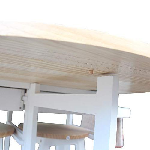 SSLine Rolling Kitchen Island with 3pcs Table with 2 Stools, Wood Drop Leaf Breakfast Cart Table Chair, Kitchen with White