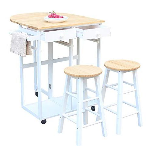 FCH Table and Set Wooden with 1 2 Drawers for