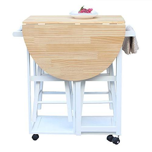 SSLine Rolling with Seating Table Stools, Breakfast Cart Table and Chair, Space Kitchen On White