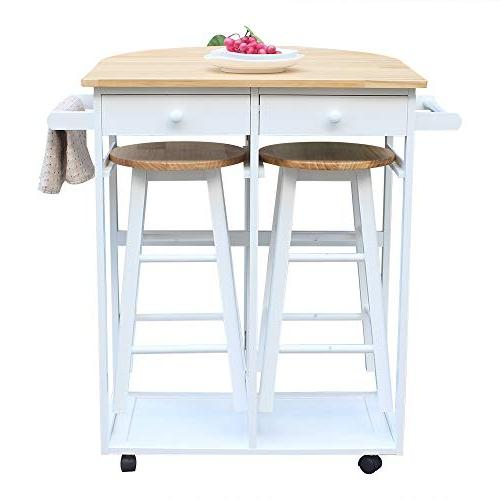SSLine with Seating 3pcs Dining Stools, Wood Breakfast Cart Table Chair, Kitchen Table White