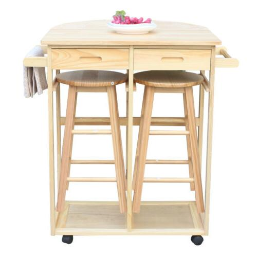 Portable Rolling Dining Table Set Wooden Kitchen Island Trol