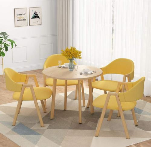LITTLE Dining Round Table 4 Chairs Metal Legs