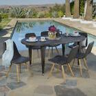 Lydia Outdoor 7-piece Oval Wicker Wood Dining Set by Christo