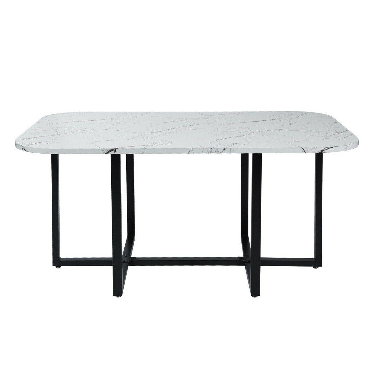 Marble Piece Dining Table Set Leather Chairs Dinner