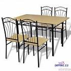 Metal Dining Set Kitchen Table Chairs Steel Frame Light Brow