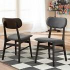 Mid-Century Gray Fabric 2-piece Dining Chair Set By Baxton S