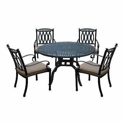 Milan Aluminum 5 Piece Dining Set with 48-inch Round Dining