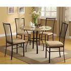 Modern 5-Piece Dining Set in Black with Round Table and 4 Ch