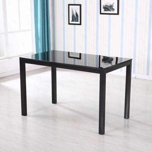 5 Glass Metal Table 4 Chair Kitchen Room Furniture