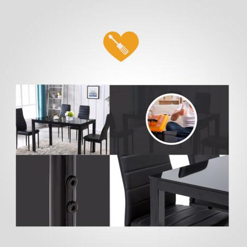 5 Dining Glass Metal 4 Chair Kitchen Dining Room Furniture