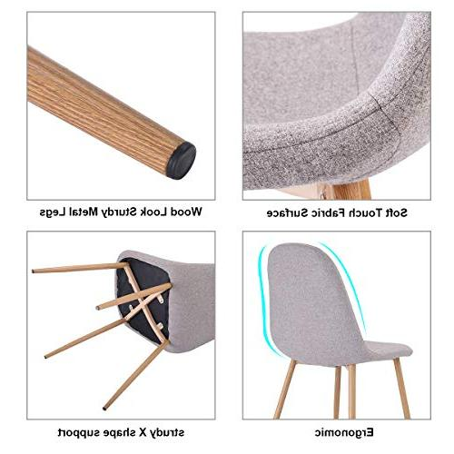 Giantex Dining Chairs Set 4 Metal Legs Wood Fabric Home Chairs