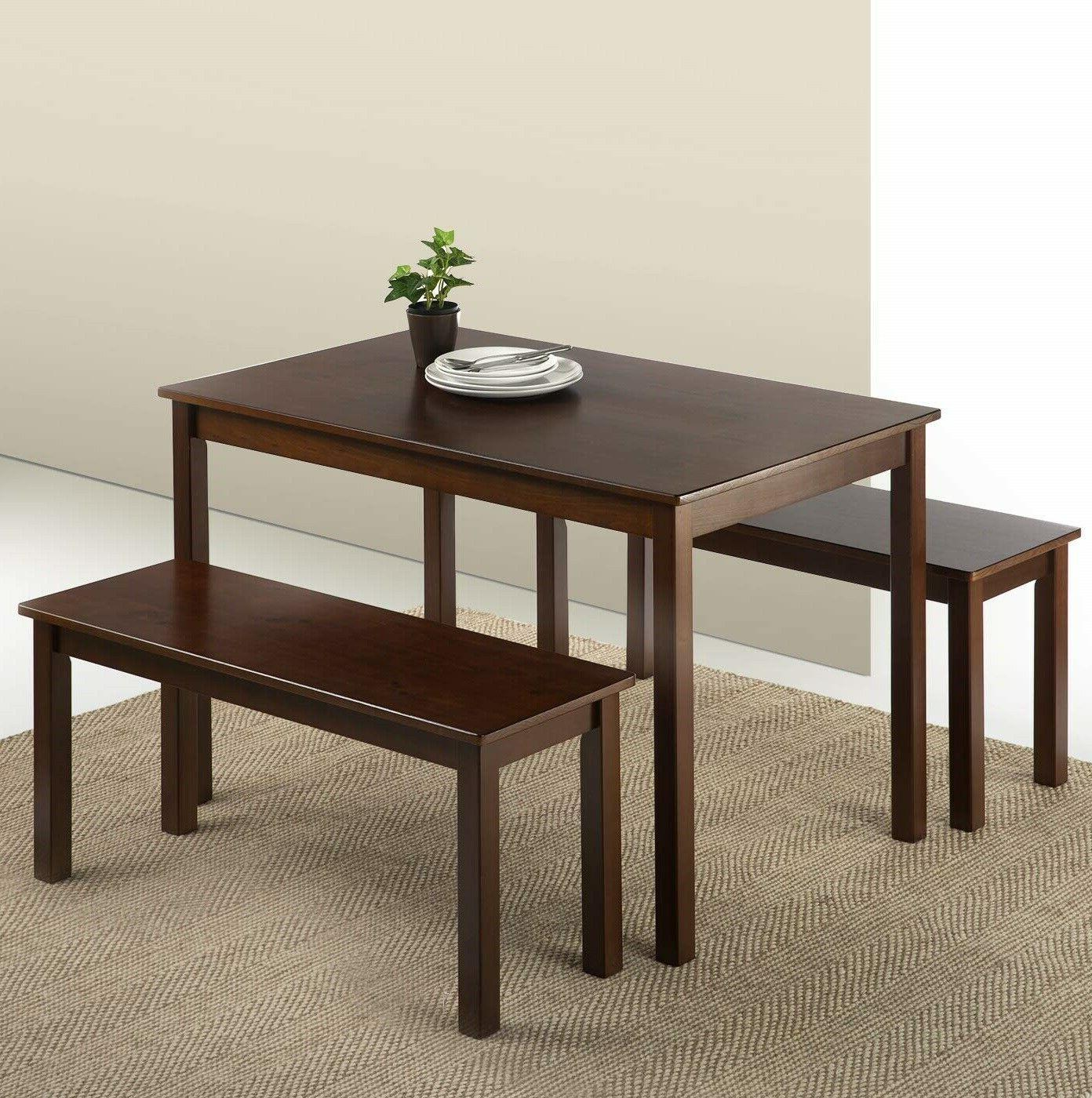 modern wooden dining set 4 person bench