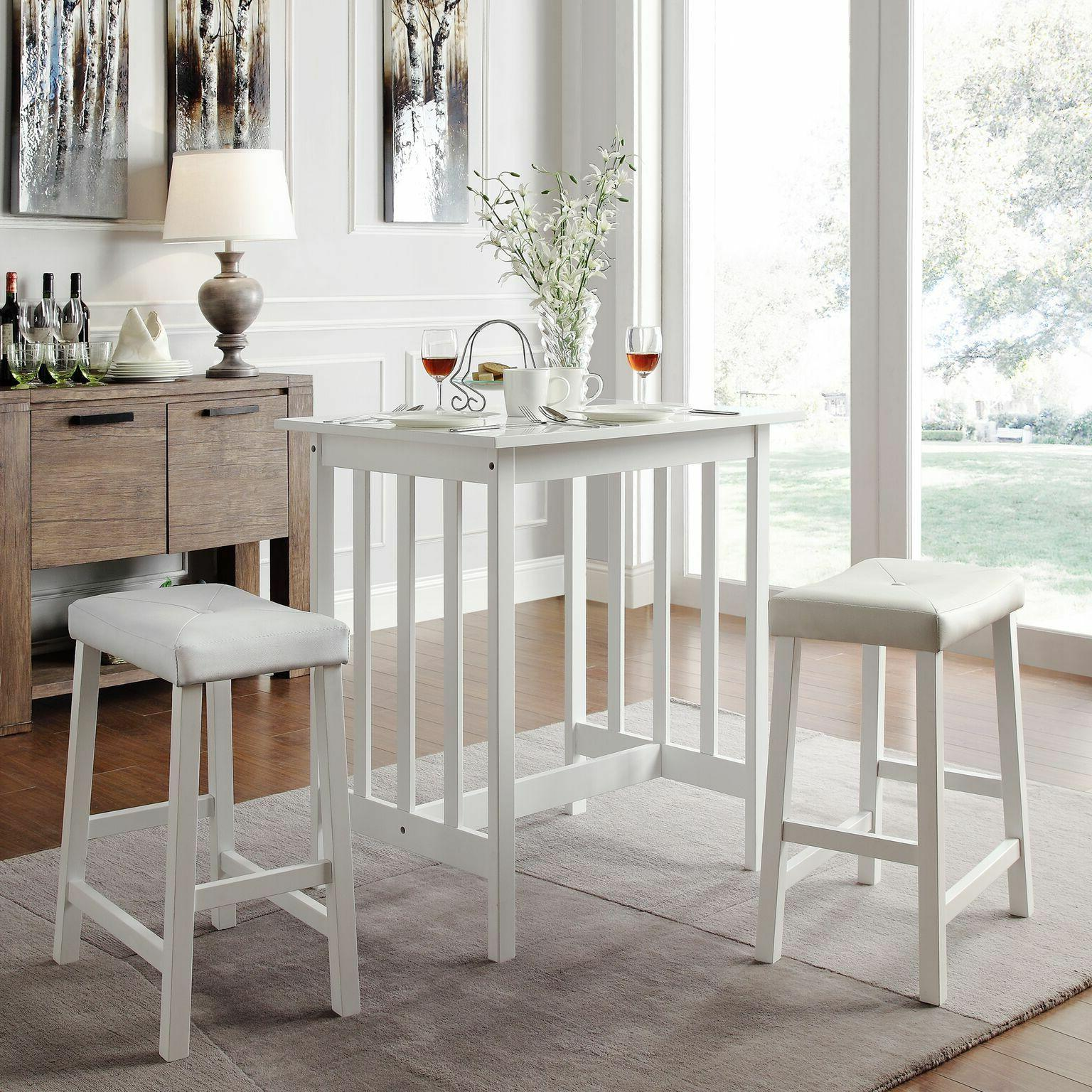 NEW 3PC White Kitchen Counter Height Dining Set Pub Bar Tabl