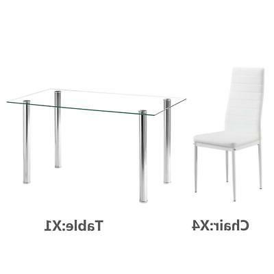 Hot Piece Dining Table Set Glass Metal Kitchen Furniture White