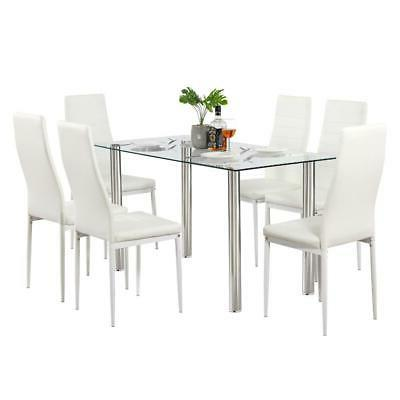 Hot Piece Table Set 6 Glass Metal Room Furniture White