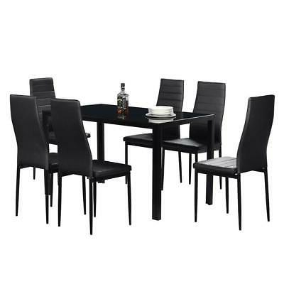 Black 6 Person Dining Table Set Chairs Glass Table and 6 Lea