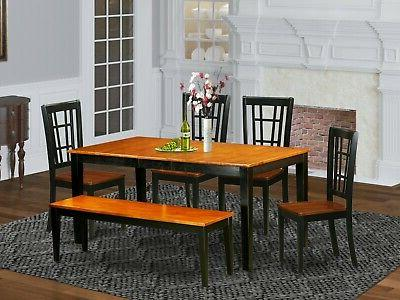 East West Furniture Nicoli 6pc dining set table + 4 chairs +